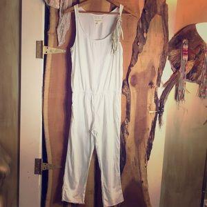 OOAK Upcycled White Linen Jumpsuit Buckskin Detail